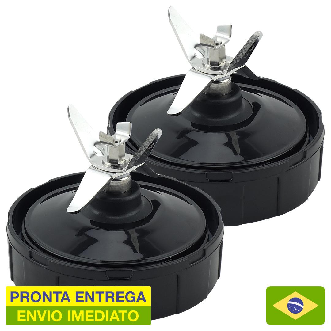 Kit 2 Lâminas de Aço Extratora 7 Pinos para Nutri Ninja BL480BR 900W e 1000W com Junta de Silicone - Pronta Entrega